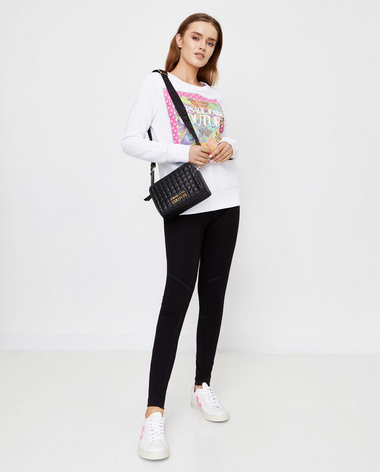 Biała bluza z kolorowym nadrukiem Versace Jeans Couture