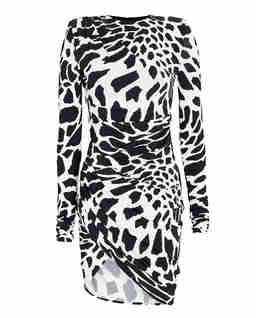 Drapowana sukienka ze wzorem żyrafy