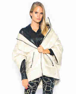 Beżowa pikowana kurtka