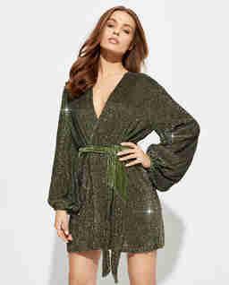 Zielona sukienka z cekinami Gabrielle