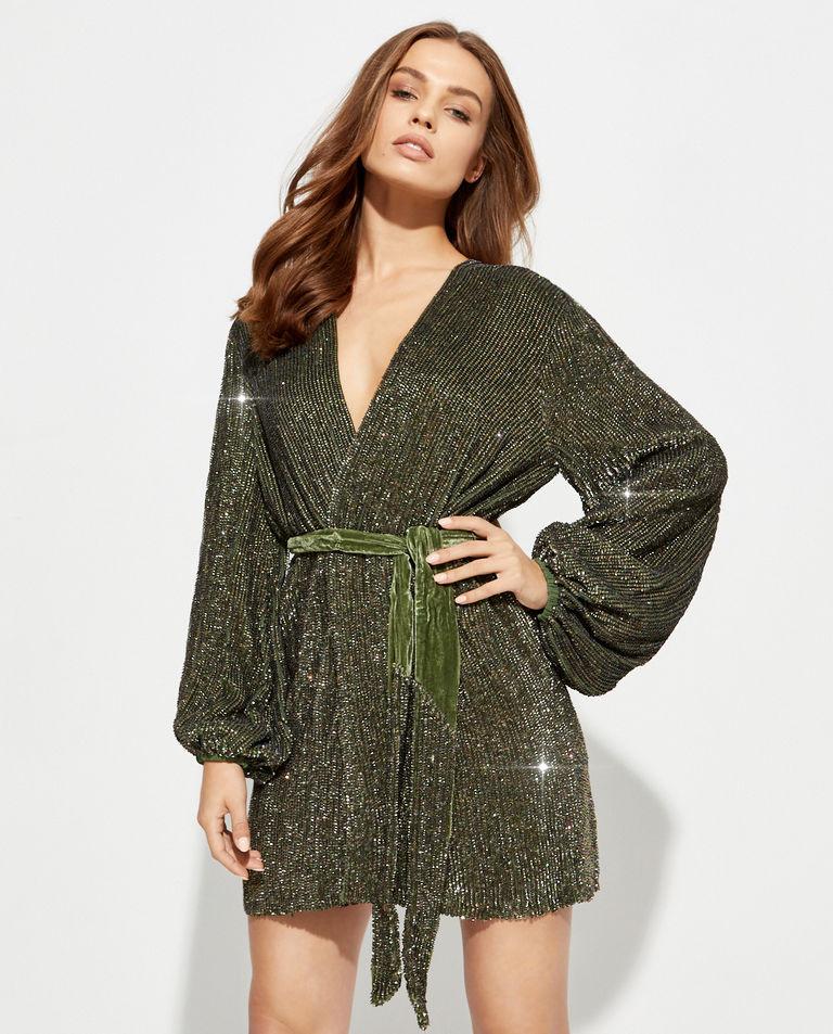 Zielona sukienka z cekinami Gabrielle Retrofete