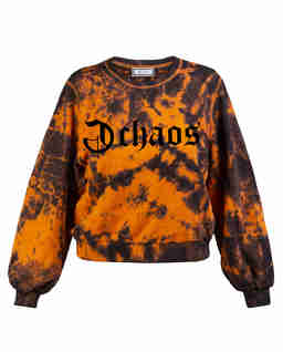 Ręcznie farbowana pomarańczowa bluza z bawełny Ravon