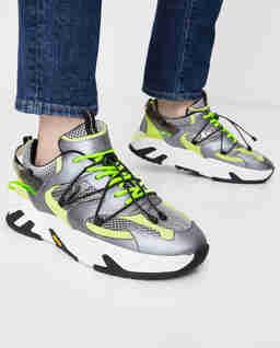 Srebrne sneakersy z neonowymi wstawkami
