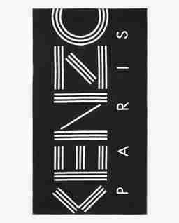Czarny ręcznik plażowy z logo