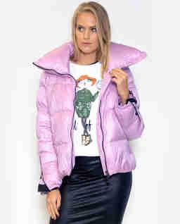 Liliowa pikowana kurtka