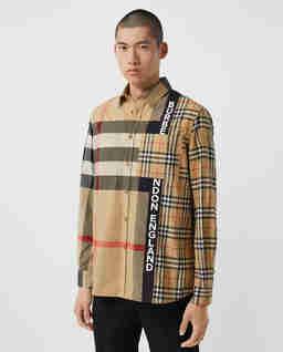Beżowa koszula z motywem patchwork