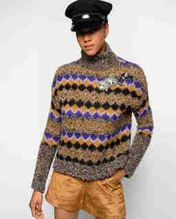 Sweter w romby z broszką Eclisse