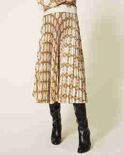 Beżowa spódnica plisowana midi