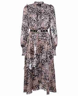 Beżowa sukienka z połyskującej tkaniny