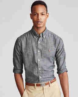 Szara koszula Chambray Slim Fit