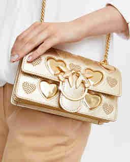 Złota torebka z logo Love Mini Icon