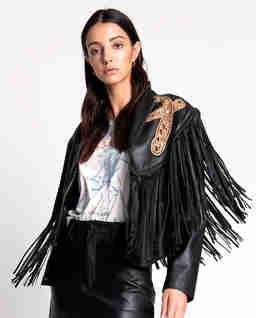 Skórzana kurtka z frędzlami Lola