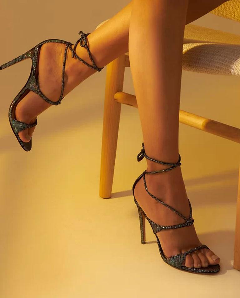 Holograficzne sandały na szpilce Aimee Alexandre Birman