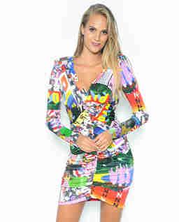 Sukienka w kolorowy print Cocole Abito