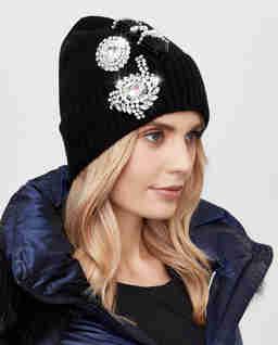Czarna czapka z kryształami Secco