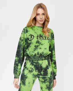 Ręcznie farbowana zielona bluza z bawełny Ravon