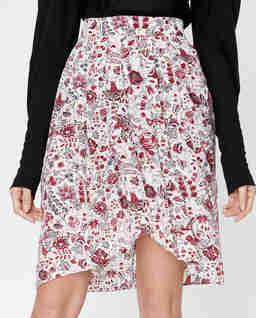 Jedwabna spódnica w kwiaty Kinali