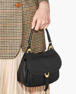 Czarna torba ze skóry Fauve Mini