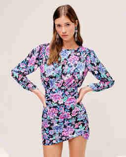 Błękitna sukienka w kwiaty Brandy