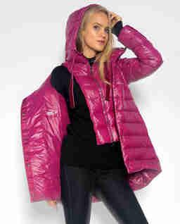 Fioletowa pikowana kurtka