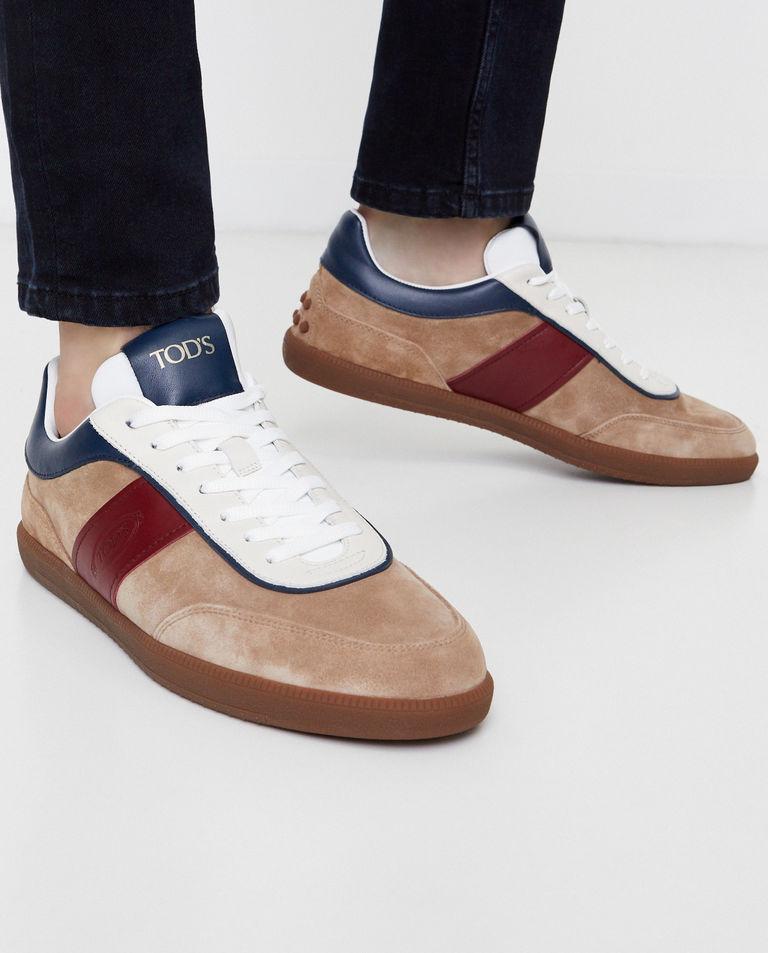Beżowe sneakersy z zamszu Tod's