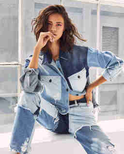 Patchworkowa koszula jeansowa