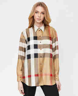 Jedwabna koszula w kratkę Vintage