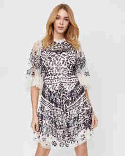 Beżowa sukienka z cekinami Anais