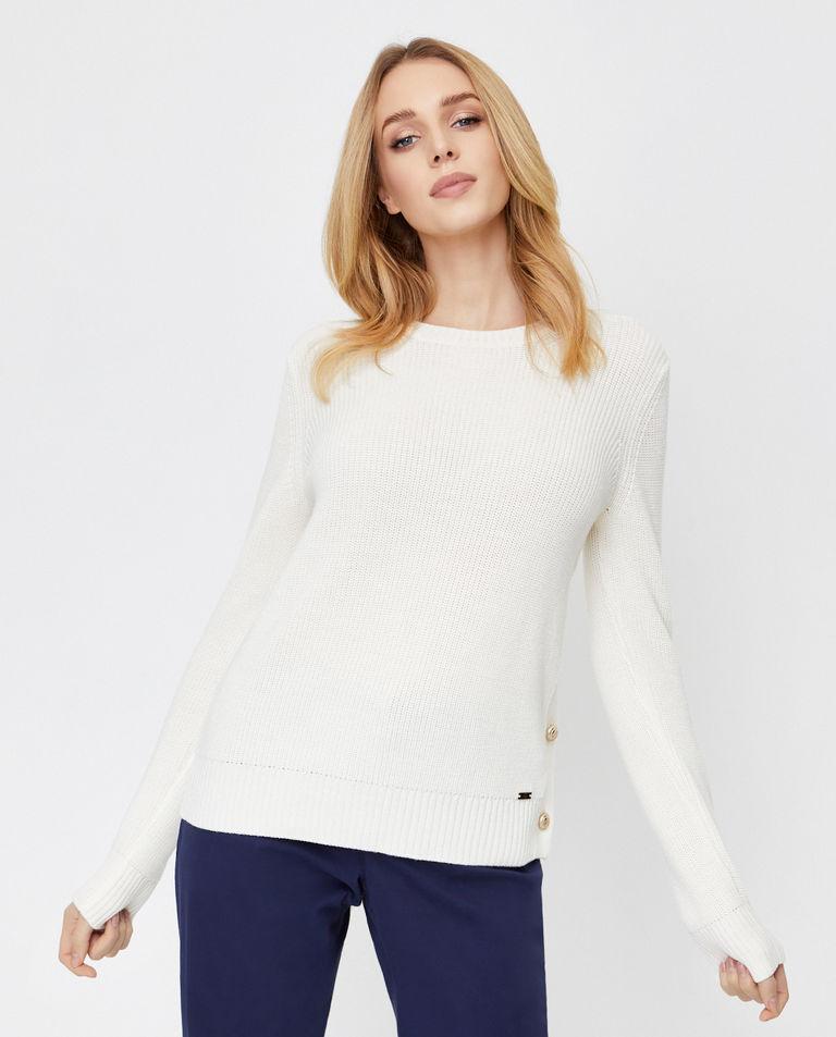 Biały sweter z wełny dziewiczej Fay