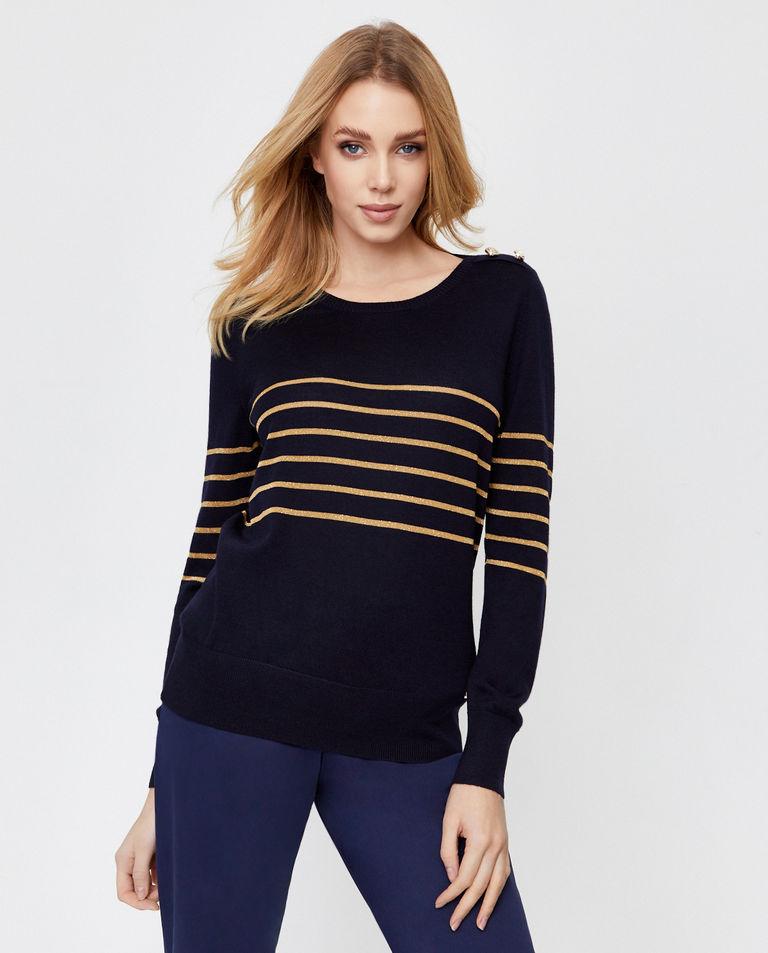 Granatowy sweter z wełny dziewiczej Fay