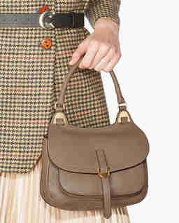 Beżowa torba ze skóry Fauve Mini
