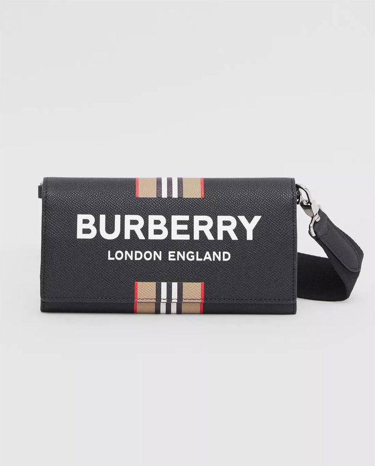 Skórzany portfel na ramię z logo Burberry