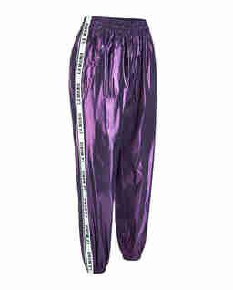 Fioletowe spodnie z połyskiem
