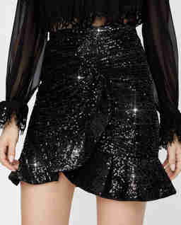 Czarna spódnica mini z cekinów