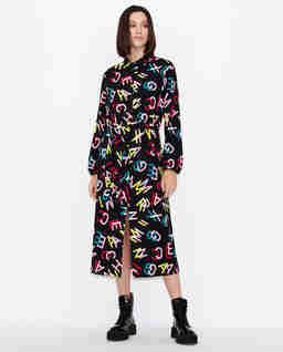 Sukienka midi z kolorowym logowaniem