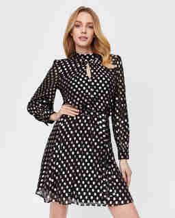 Czarna sukienka w groszki Lido