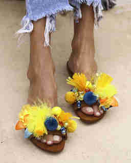 Skórzane klapki Sunflowers