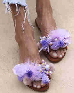 Skórzane klapki Lilac Dream