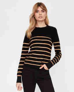 Czarny sweter w paski Valdai