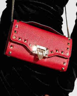 Czerwona torebka na łańcuszku Rockstud