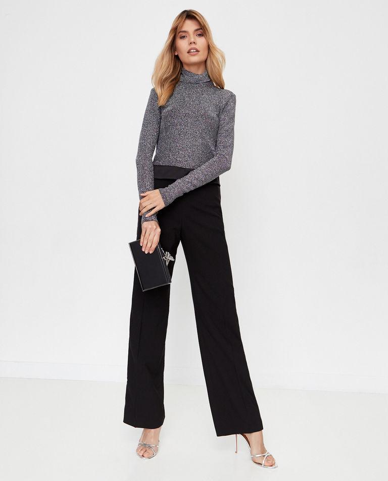 Czarne spodnie z wysokim stanem Burberry