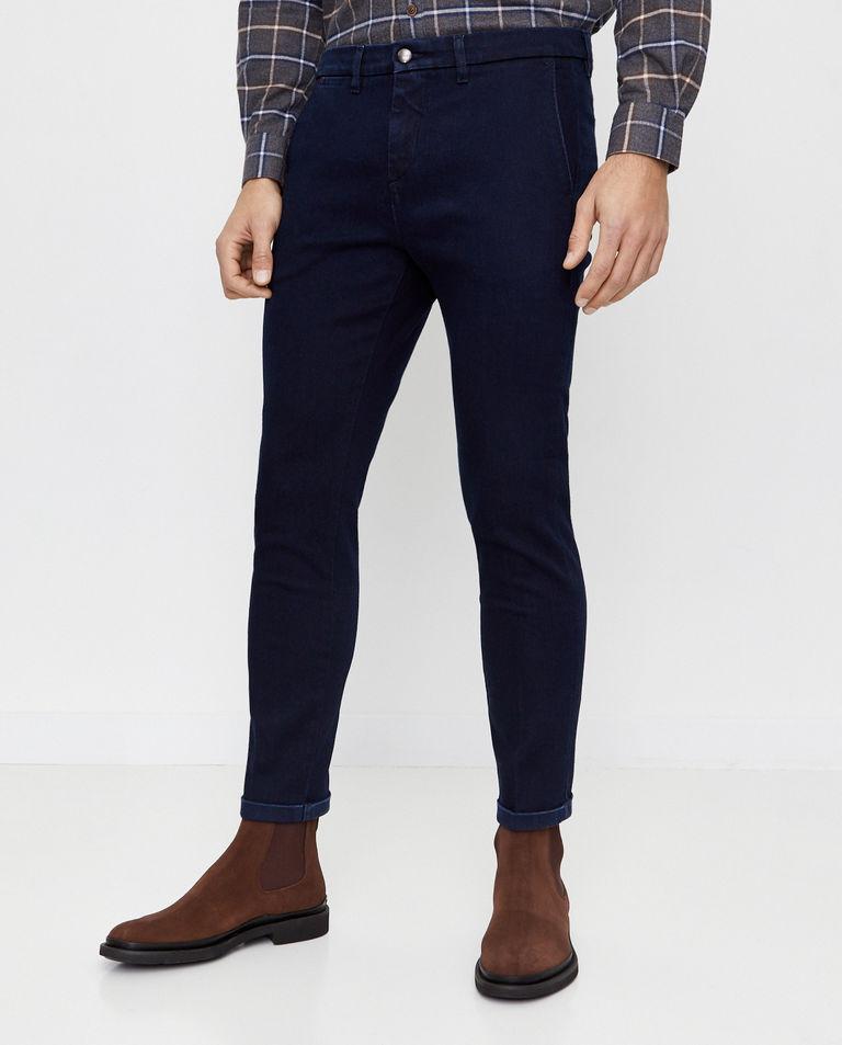 Granatowe spodnie z podwijanymi nogawkami Fay