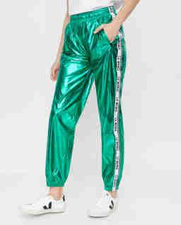 Zielone spodnie z połyskiem Calle