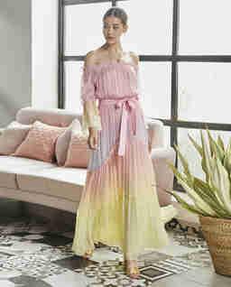 Pastelowa sukienka maxi