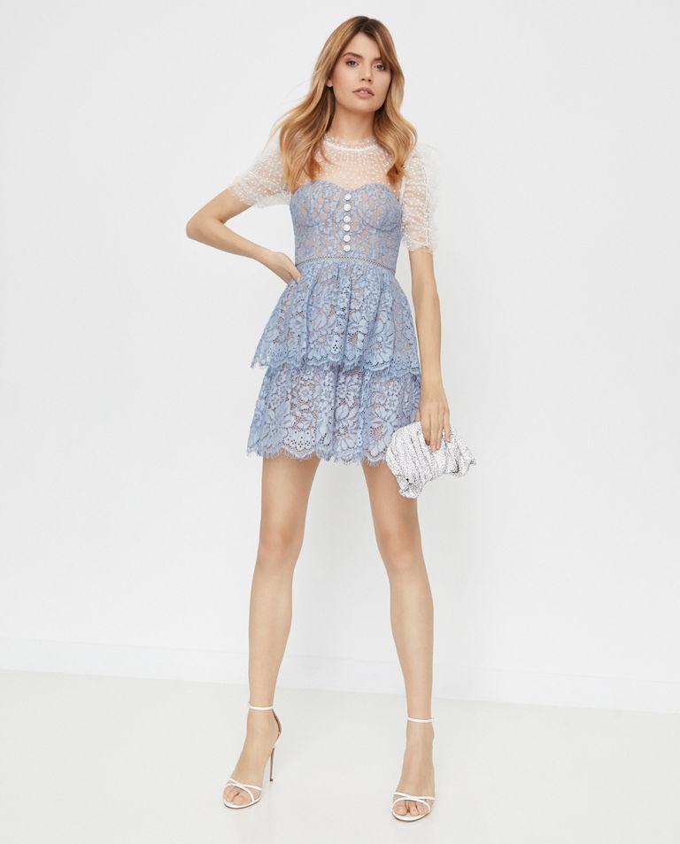 Niebieska sukienka mini Self Portrait