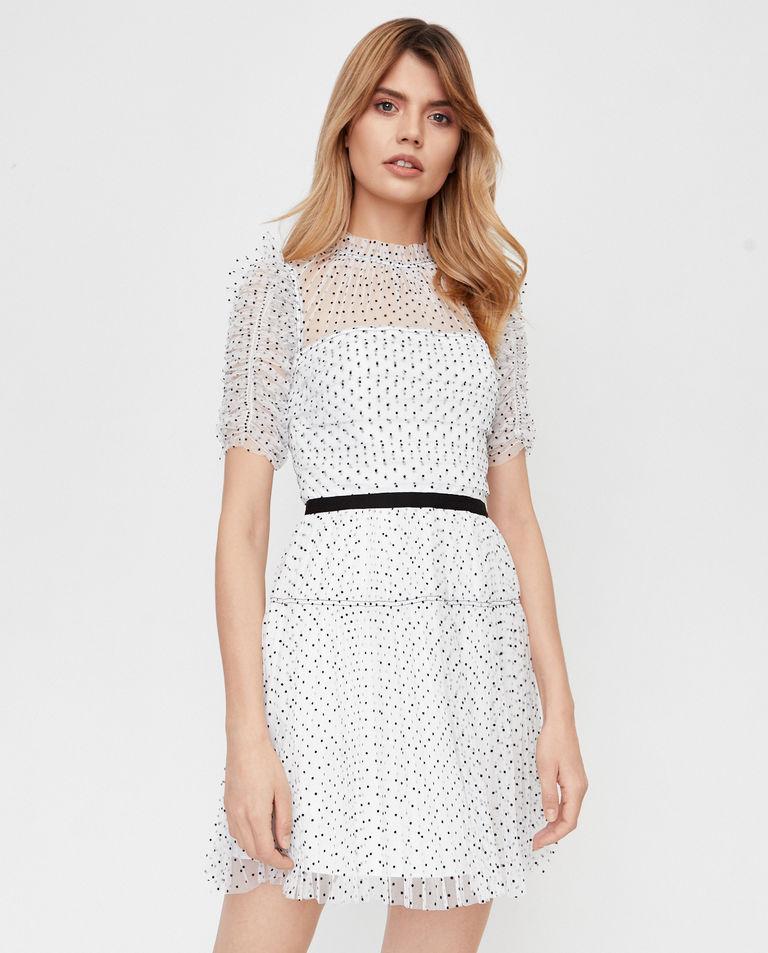 Biała sukienka mini w kropki Self Portrait