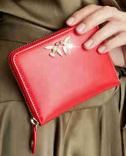 Czerwony portfel z jaskółkami Taylor
