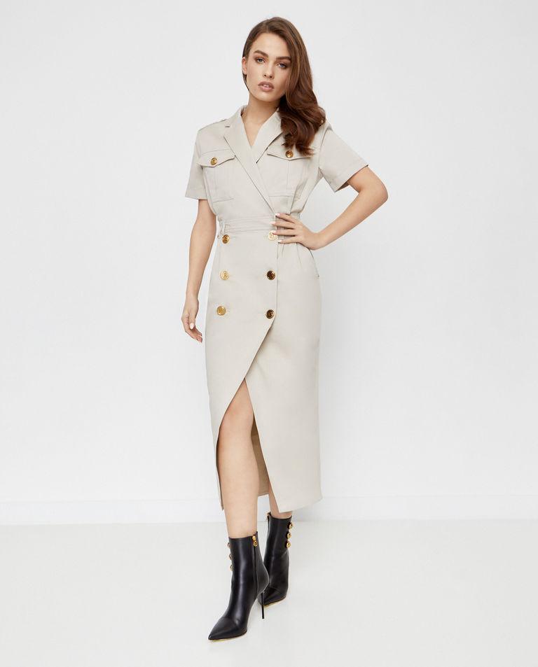 Beżowa sukienka z guzikami Balmain