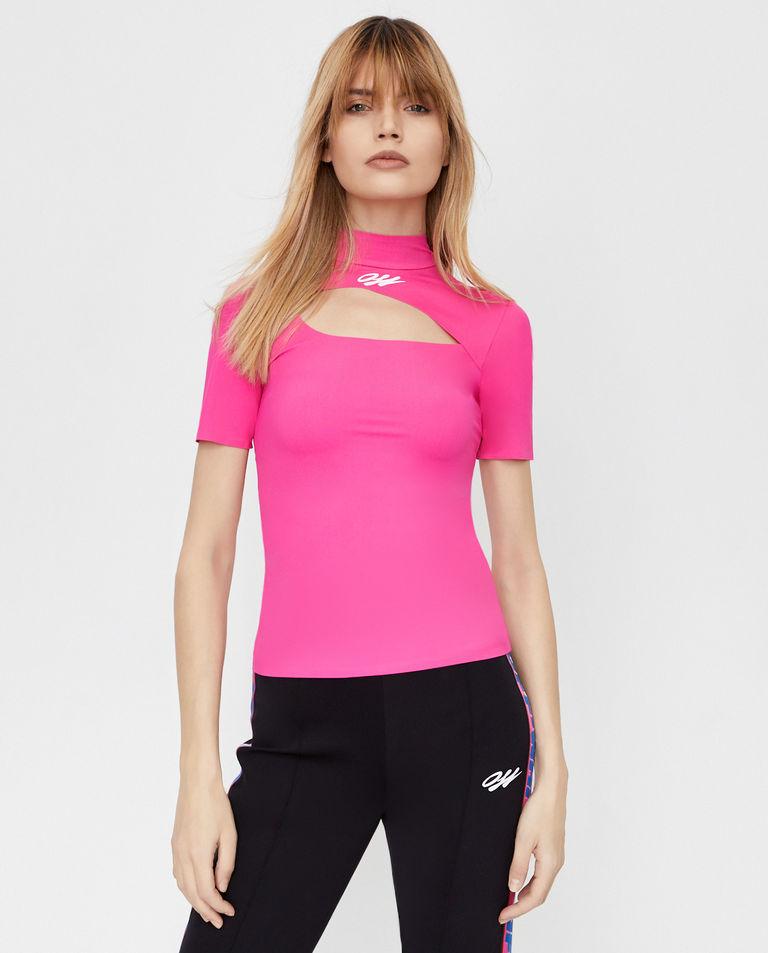 Różowa bluzka z wycięciem Off-White