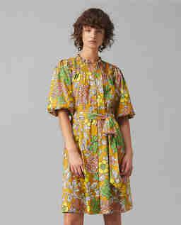 Bawełniana sukienka w kwiaty z maseczką